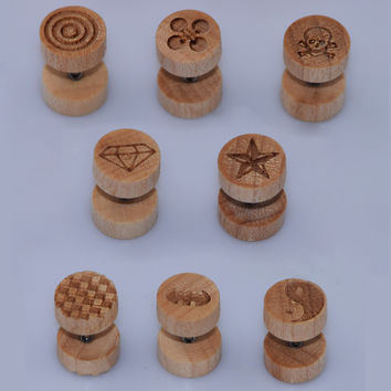 Gauges Natural Wood Fake Illusion Ear Plugs Earrings Studs Fake Cheater Stud Plugs Body Piercing