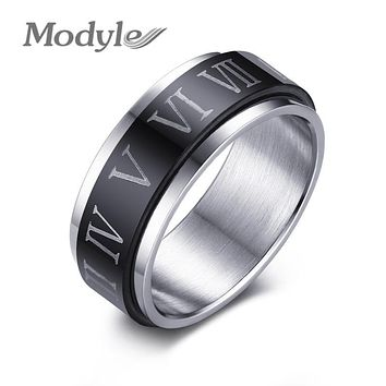 Modyle 2017 Punk Black Spinner Roman Numerals Stainless Steel Rotatable Men's Rings