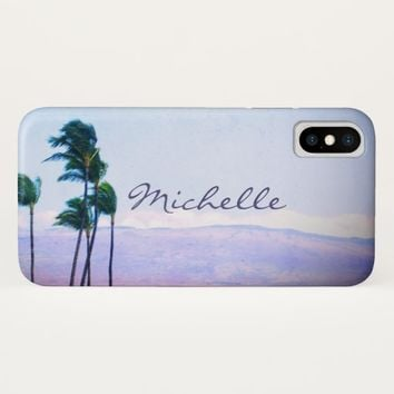 Hawaii palm trees & purple hills photo custom name iPhone x case