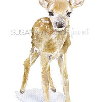 Deer Fawn Watercolor Painting Giclee Reproduction 5x7 Nursery Art - Woodland Animal
