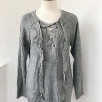 ANDREA OVERSIZE LACE UP SWEATER- LT GREY