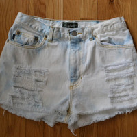 Ralph Lauren Cutoff Jean Shorts Distressed Bleachy