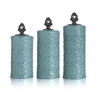 Canister Set Teal Blue Earthware 3 Piece Kitchen Counter Jars Dry Goods Storage