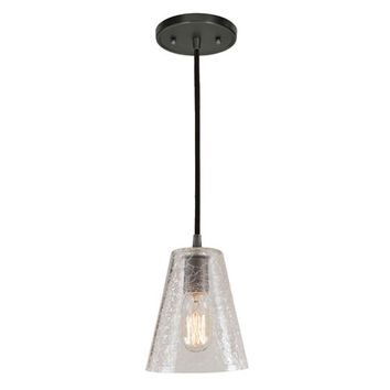 JVI Designs BKIT-1300-18-G1-CK Grand Central Gun Metal One Light Mini Pendant with 6-Inch Crackled Blown Glass Shade