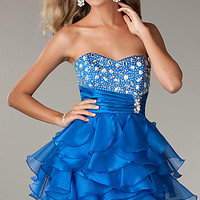 Short Strapless Prom Dress with Ruffled Skirt by LA Glo