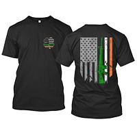Irish American 4-Leaf Clover and American Flag With Irish Colors AK47 Apparel