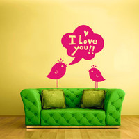rvz781 Wall Decal Vinyl Sticker Decor Art Bedroom Decal Bird I Love You Quote