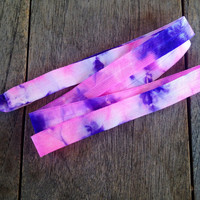Fuchsia-Purple-White Tie Dye Fold Over Elastic