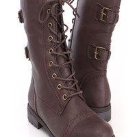 Brown Lace Up Combat Boots Faux Leather