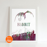 The Hobbit watercolor Lord of the Rings Middle earth illustration art print, Tolkien middle earth wall art, Large print Holiday gift , LOTR