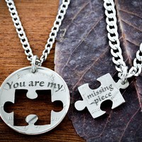 Puzzle Piece Couples Necklaces, You are my missing piece by Namecoins