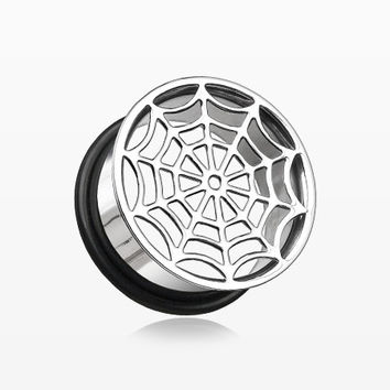 A Pair of Spider Web Hollow Steel Single Flared Ear Gauge Plug
