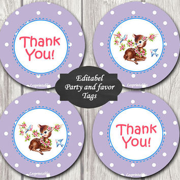 Editable-baby monkey Gift Tags Printables - Personalized - lavender dots deer Gift Tag