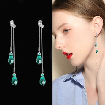Elegant Water Drop Crystal Dangle Earrings For Women Classic Long Tassels Earring Romantic Bowknot Rhinestone Wedding Jewelry