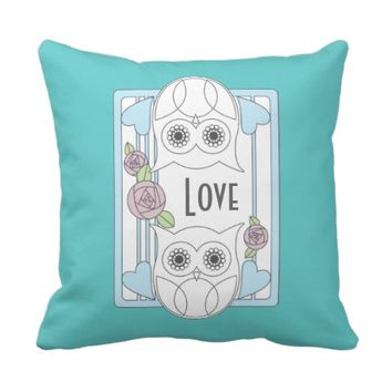 Retro Cute Owls & Roses Personalized Girly Love Throw Pillows: Name / Message Template