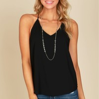 Strappy V-Neck Racerback Tank Top Black