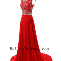Red Prom Dresses, Round Neck Prom Dresses, 2016 Red Evening Dresses