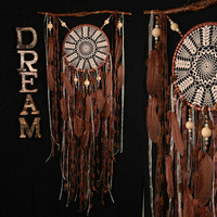 IN STOCK! Brown Dreamcatchers crochet dreamcatcher brown American mascots Bohemian wall hanging boho Feather Decor Indian talisman gift