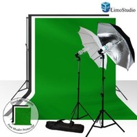 Limostudio 700W Photography Light Photo Video Studio Umbrella Lighting Kit, 10 x 10 ft. Studio Green chromakey photo backdrops Backgrounds Support kit, AGG687