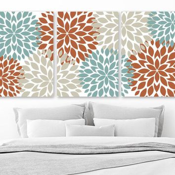 Flower Wall Art, Terracotta Aqua Beige Bedroom Wall Decor, Floral CANVAS or Prints, Floral Bathroom Decor, Flower Artwork, Set of 3 Pictures