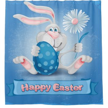 Cool Blue Happy Easter Shower Curtain