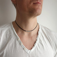 Black leather necklace metal beads unisex necklace black leather cord men women