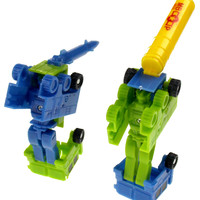 Transforming Tank Robot Plastic Toy Lot 11 Party Favors Cake Toppers Green Blue