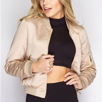 Gigi Nude Luxe Bomber Jacket at misspap.co.uk