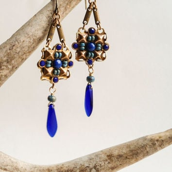 Blue Bead Micro Mosaic Tribal Earrings, Lapis Lazuli, Gemstone, Boho, Ethnic, Dagger, Rustic, Gipsy, Hippie, Square, PIcasso