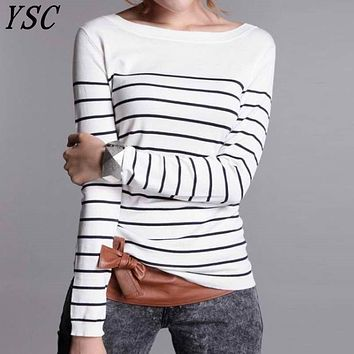 YUNSHUCLOSET 2017 Hot Sales Women's Knitted Cashmere Wool Sweater Stripe Woman Winter Clothes Pullover Free Shipping