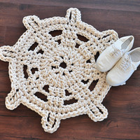 Steering Wheel Rug - Nautical Rope Rug - Crocheted With Cotton Rope