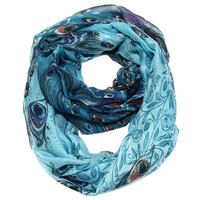 Peacock Feather Print Infinity Scarf - Turquoise Blue