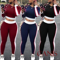 Brand New Women Sets Women Striped Red Blue Black 2 pcs Sweatsuit Cotton Summer Pullover Suits Women outfit Two Piece Tracksuits