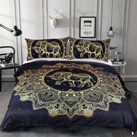 Metallic Gold Elephant Mandala Duvet Set
