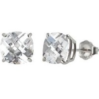 10k White Gold Created White Sapphire Cushion-Cut Stud Earrings (6mm, 2.10 cttw): Jewelry: Amazon.com