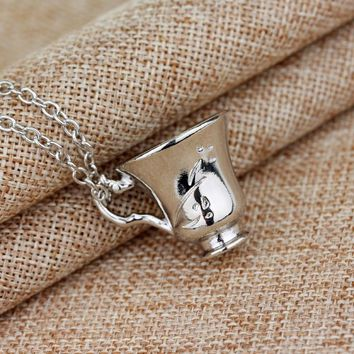 Once Upon A Time Rumbelle Bella Clip Tea Cup Necklace&pendant Environmental Alloy Jewelry Pendant Charm Necklace
