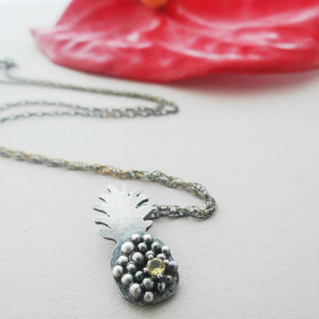 Sterling Silver Pineapple Necklace, Oxidized Silver, Birthstone Pendant, Tropical Jewelry, Hawaii Necklace, Botanical Pendant  Made to Order