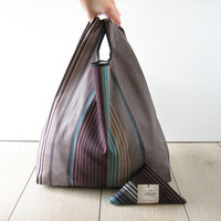 striped shopping bag / gray and bordeaux cotton tote / men shopper / minimalist bag / triangle fold bag / edge in black ribbon / 1 piece