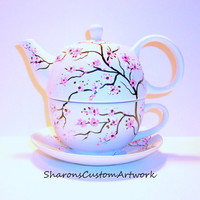 Hand painted Tea for One Tea Pot  with Cup and Saucer Cherry Blossoms  Peacock Feathers  Fall Leaves Poppies 3 Piece Tea Set For One