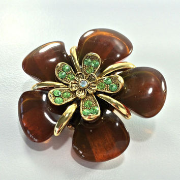 Root Beer Periot Flower Brooch Dahlia Daisy Mid Century Modern MCM Astronaut Wives Amber Brown Lucite Green Rhinestones Garden Fall Jewelry