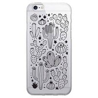 iPhone 6/6s/7 OTM Prints Clear Phone Case - Desert Cacti Outlined Black
