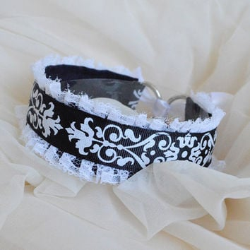 Lost soul - gothic black and white necklace with ornament - kawaii cute lolita kitten pet play furry collar