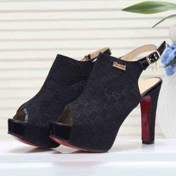 GUCCI Fashion Simple Women Princess High Heels High-Heeled Shoes Sandals Black I-KSPJ-BBDL