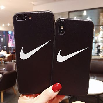 NIKE Tide brand personality couple models iphone8plus mobile phone case cover Black
