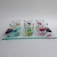 Shot Glasses Set of 6 with Tray Handpainted Dragonflies
