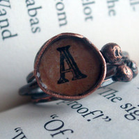 Mongram Copper Stacking Rings in Rust by torchandhammer on Etsy