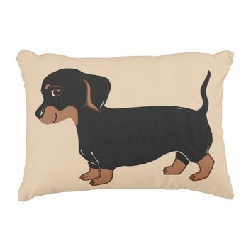 Black and Brown Dachshund Creme Accent Pillow