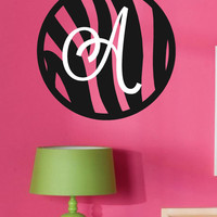 Zebra Wall Decal- Zebra Print Circle with Monogram Initial-Vinyl Wall Decal- Teen- Tween- Modern Wall Decor