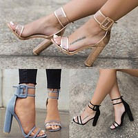 Suede Peep-toe Summer Ankle Strap Chunky Heel Sandals