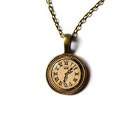 Old clock charm steampunk pendant Vintage art jewelry Antique style n121